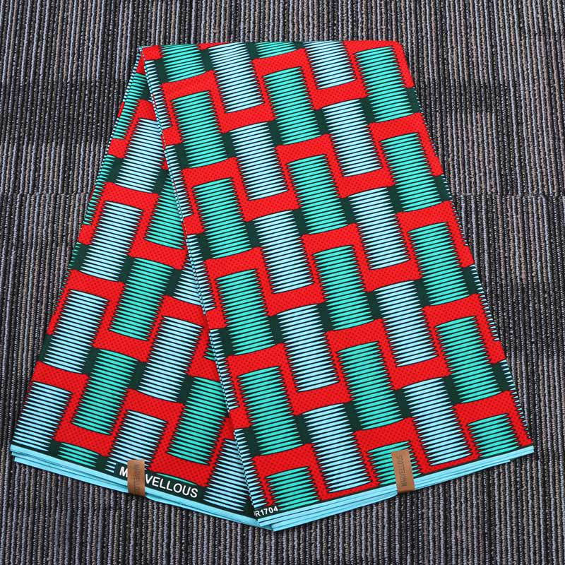 6 yard--wide african geometric printed wax fabric--polyester--red green--FP6011