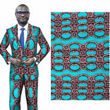 6 yard--wide african geometric printed wax fabric--polyester--turquoise--FP6154