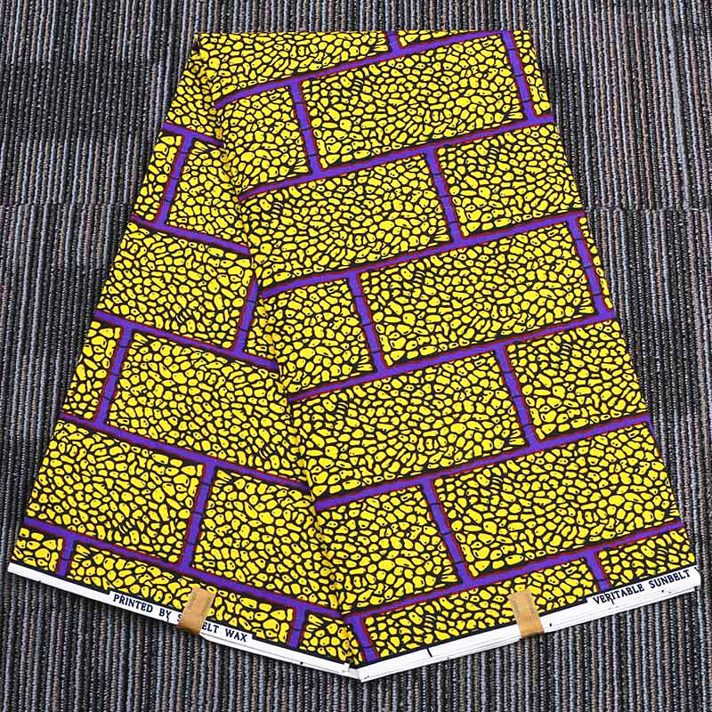 6 yard--wide african geometric printed wax peached fabric--polyester--yellow--FP6174