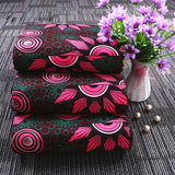 6 yard--wide african wax flower printed fabric--polyester--pink green--FP6122