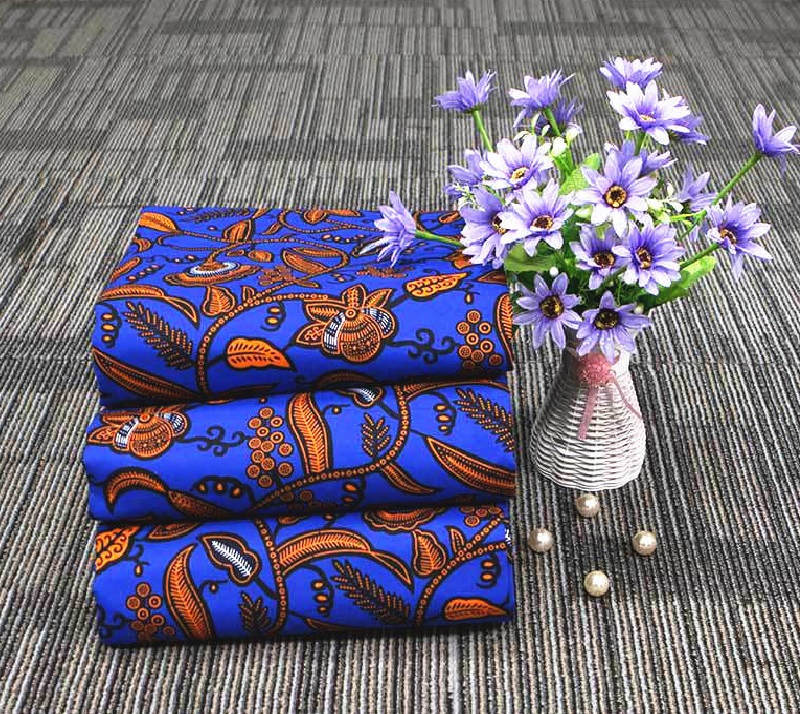 6 yard--wide african wax geometric printed fabric--polyester--blue orange--fp6263
