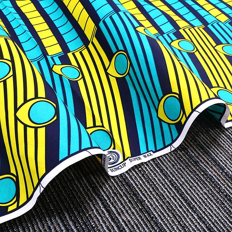 6 yard--wide african wax geometric printed fabric--polyester--blue yellow--FP6115