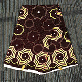 6 yard--wide african wax geometric printed fabric--polyester--brown yellow--FP6208