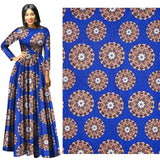 6 yard--wide super african wax flower printed fabric--polyester--blue beige--fp6275