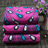 6 yard-100% cotton--african real wax feather printed fabric--pink blue--24FS1240