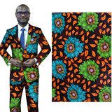 6 yard-100% cotton--african real wax flower printed fabric--orange blue green--24Fs1084