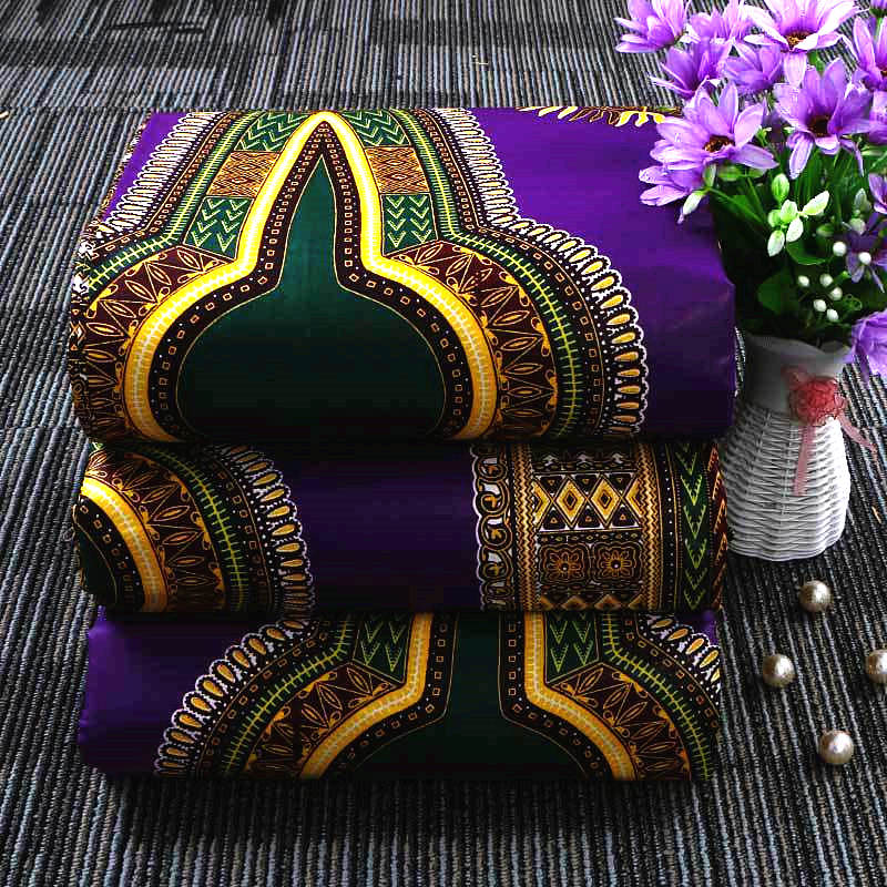 6 yard-100% cotton--african real wax flower printed fabric--purple green-- 065