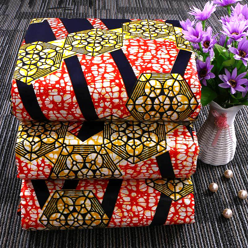 6 yard-100% cotton--african real wax flower printed fabric--red golden--24FS1198