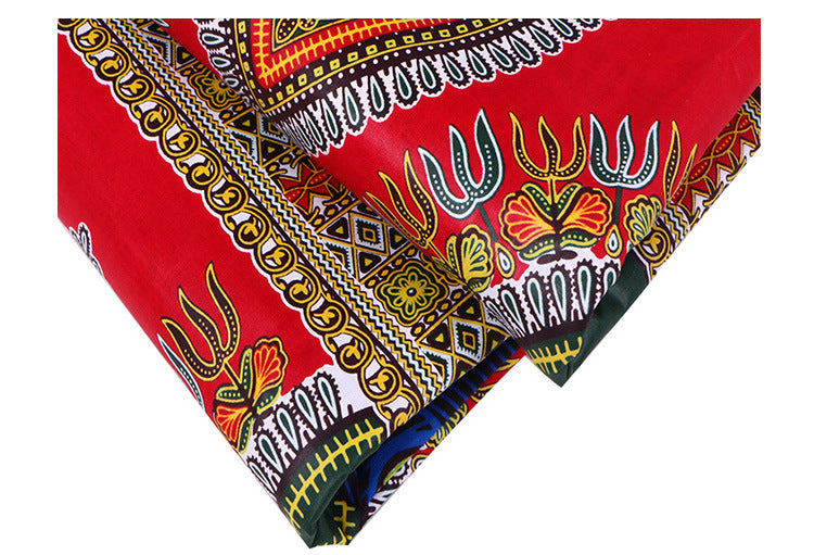 6 yard-100% cotton--african real wax geometric printed fabric--red--24FJ2014