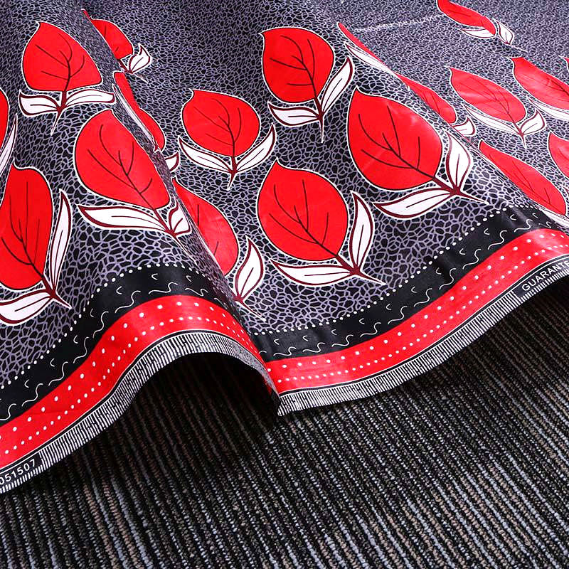 6 yard-100% cotton--african real wax leaves printed fabric--grey red--24FS1123