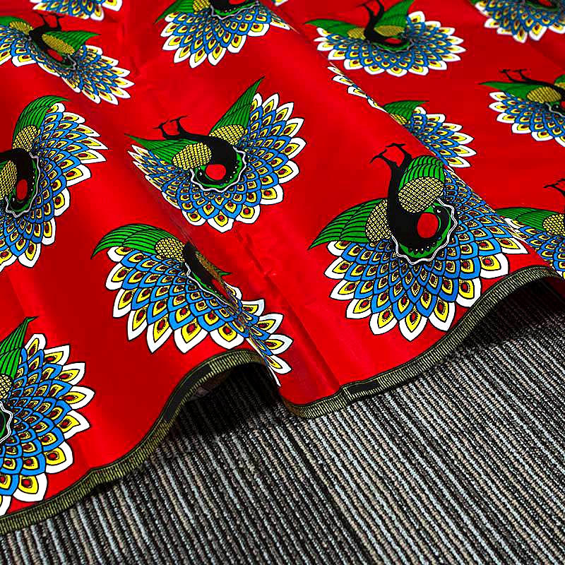 6 yard-100% cotton--african real wax phoenix bird printed fabric--red green--353