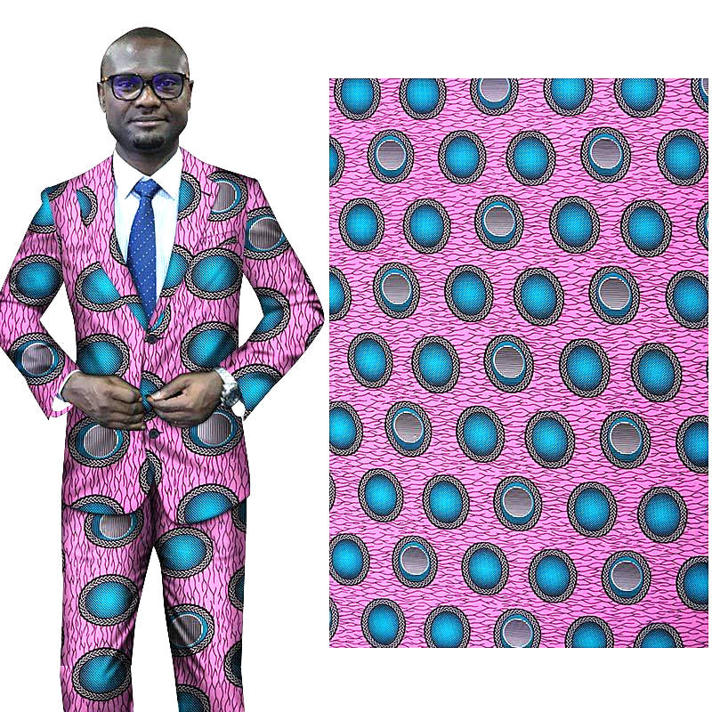 6 yard--wide african wax geometric printed peached fabric--polyester--pink blue--FP6152