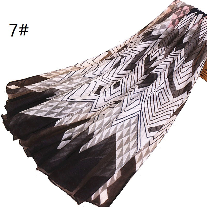 7 colors--multiple color--geometric design-voile scarf,shawl, muslim hijab AW-BS515