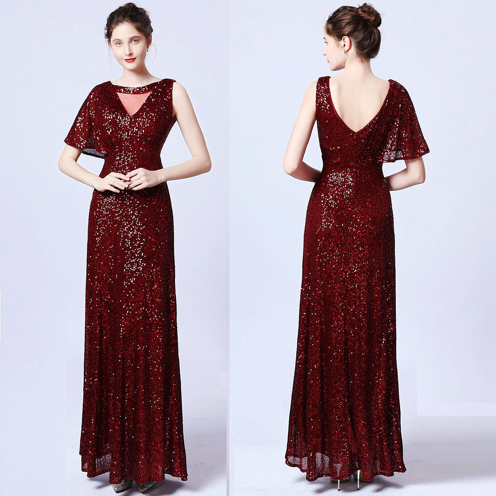 High Quality long sequins Party Prom Dress--one short sleeve--black,pink,burgundy red, navy blue,champagne,apricot,green--KLN-18108#