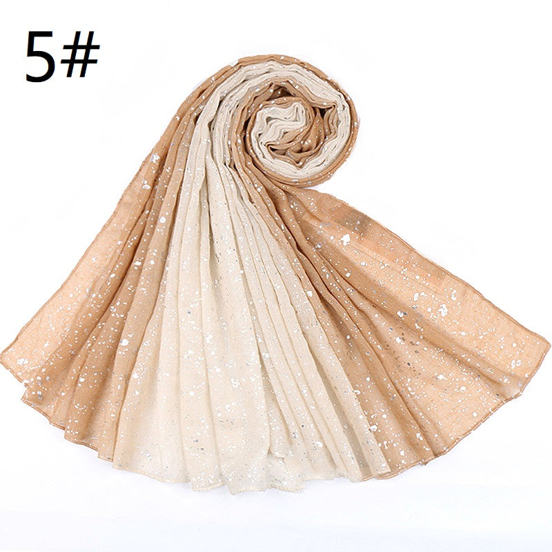 8 colors--gradient--hot stamping--silver cotton scarf,shawl, muslim hijab AW-VS166