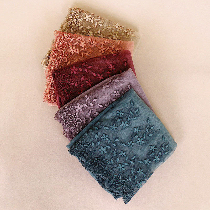 7 colors--embroidered lace  attached--cotton scarf,shawl, muslim hijab AW-BS509