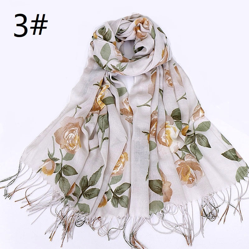 7 colors--flower-ptinted--cotton scarf,shawl, muslim hijab AW-VS135