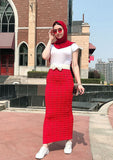 Muslim lady high elastic sheath skirt-black,white,red,burgundy,brown,narv blue,green-floor length LAY-SK9034