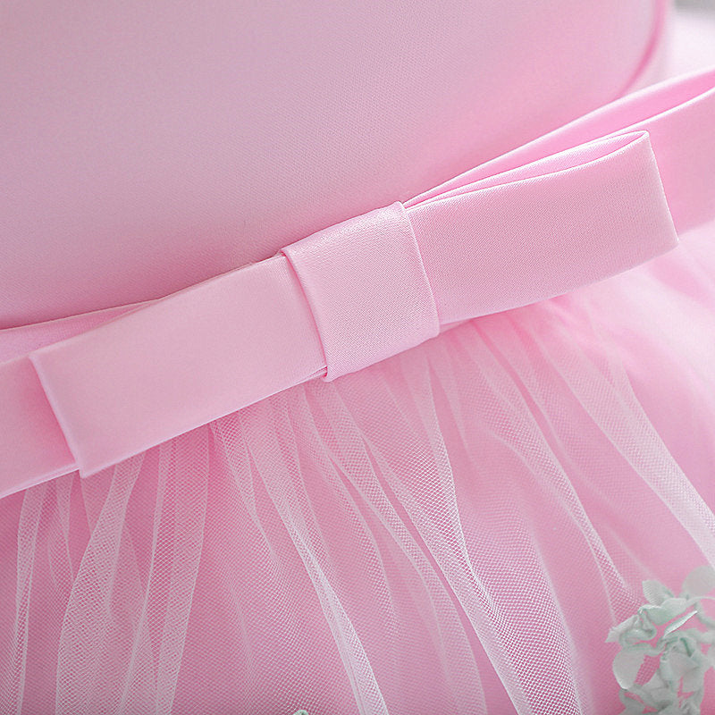 baby girl's party dress--height 70cm-90cm--3D flower--pink--L1845XZ