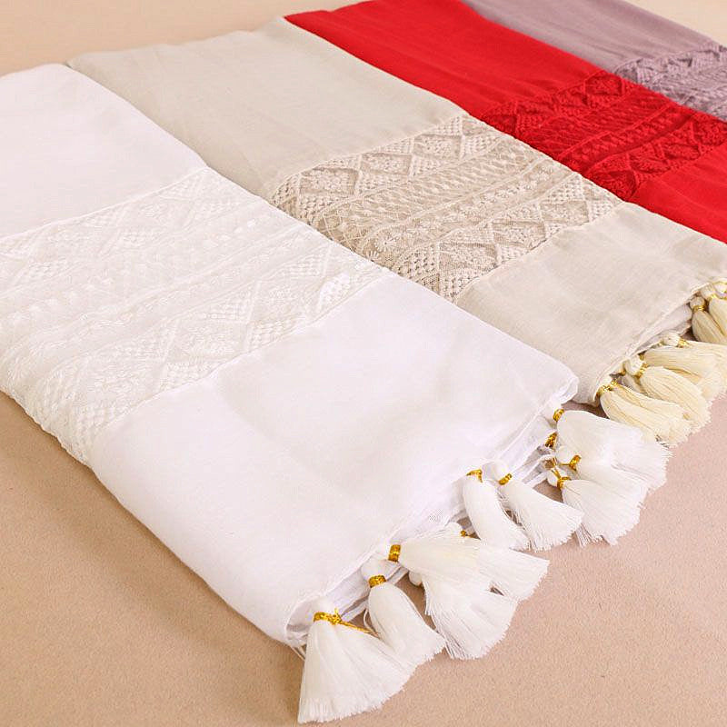 9 colors--lace attached--tassel--cotton scarf,shawl, muslim hijab AW-BS529