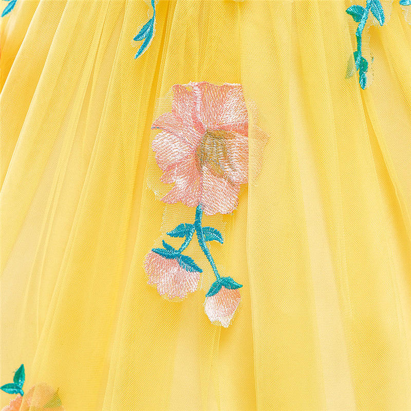 kid's party dress--height 110cm-150cm--embroidered flower--yellow--L5038