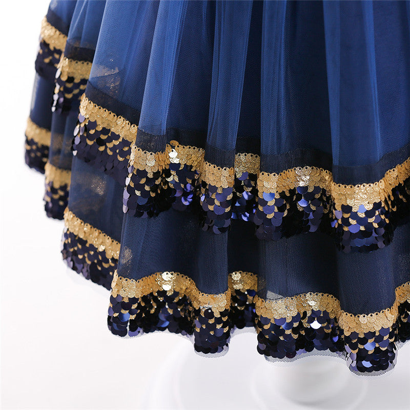 kid's party dress--height 110cm-150cm--blingbling sequins--navy blue--L5038