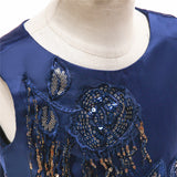 kid's party dress--height 100-150cm--sequins lace--navy blue