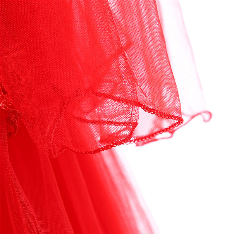 big kid's party dress--height 120cm-170cm--lace flower--red LP-216