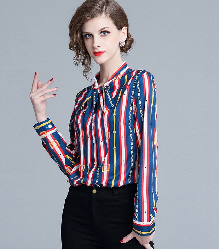 European style lady shirt--fit--strip printed--blue red--HCX-1034