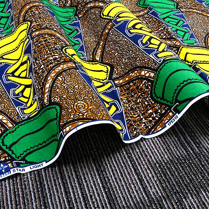 6 yard--100% cotton--super african wax geometric printed fabric--yellow green--24FS1066