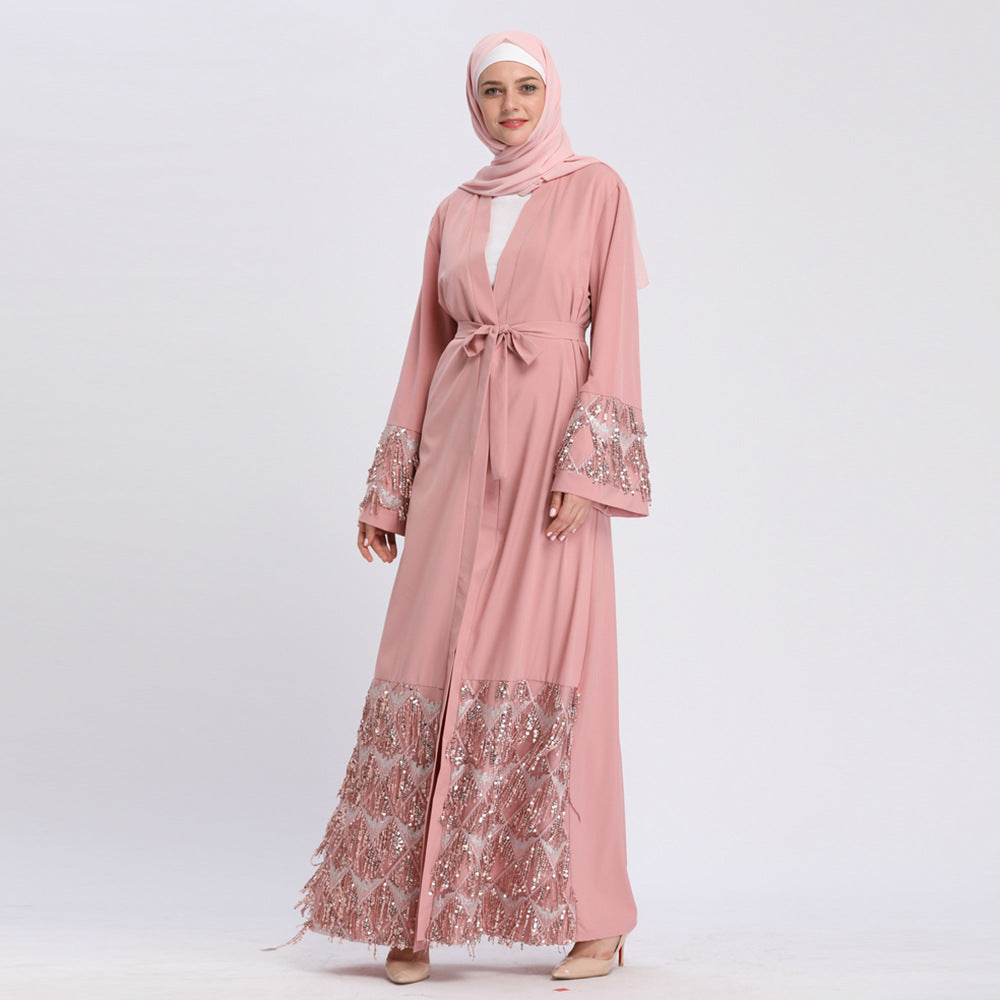 Muslim high quality black pink grey abaya long cardigan--blingbling sequin--patchwork-  LAY-LR170