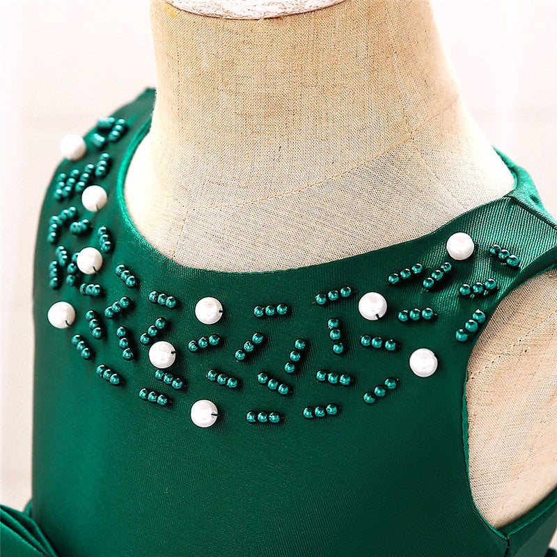 baby girl's party dress--height 70cm-90cm--beads--green--L5017XZ