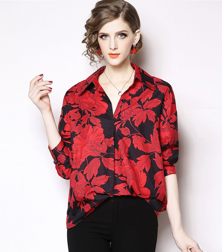 European style lady shirt--loose--flower printed--red black--HCX-1634