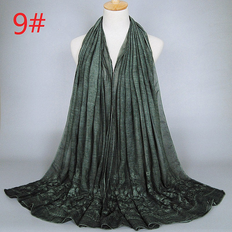 9 colors--flower-embroidered--cotton scarf,shawl, muslim hijab AW-BS329