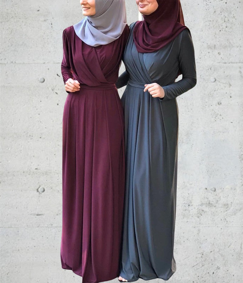 Lady women muslim--7 colors--plain elastic--floor length--maxi dress LR206