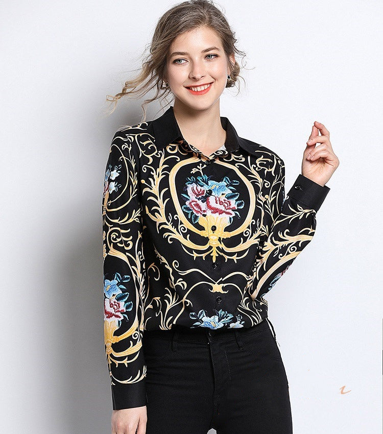 European style lady shirt--fit--pattern printed--black yellow--HCX-1061