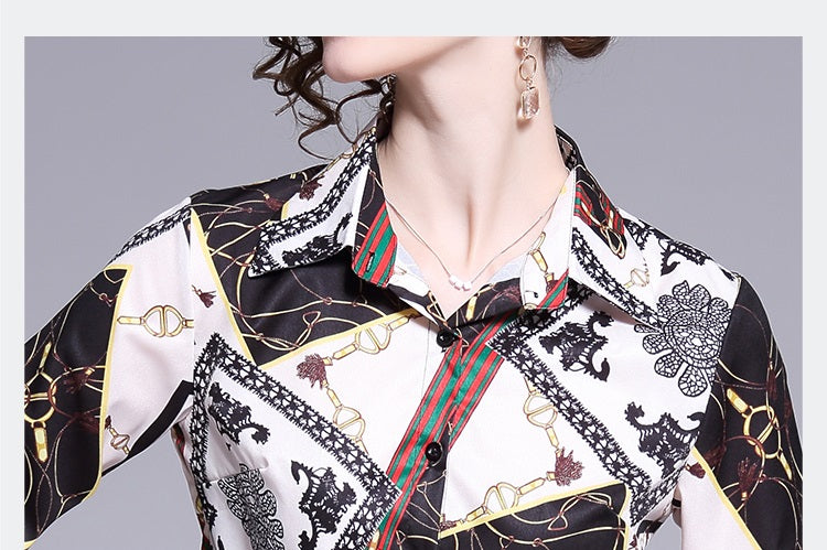 European style lady shirt--fit--pattern printed--red white black--HCX-3128