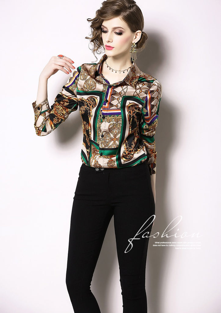 European style lady shirt--fit--pattern printed--brown green--YNSHCH-204107