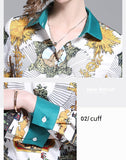 European style lady shirt--fit--flower printed--blue mustard--YNSHCH-802712