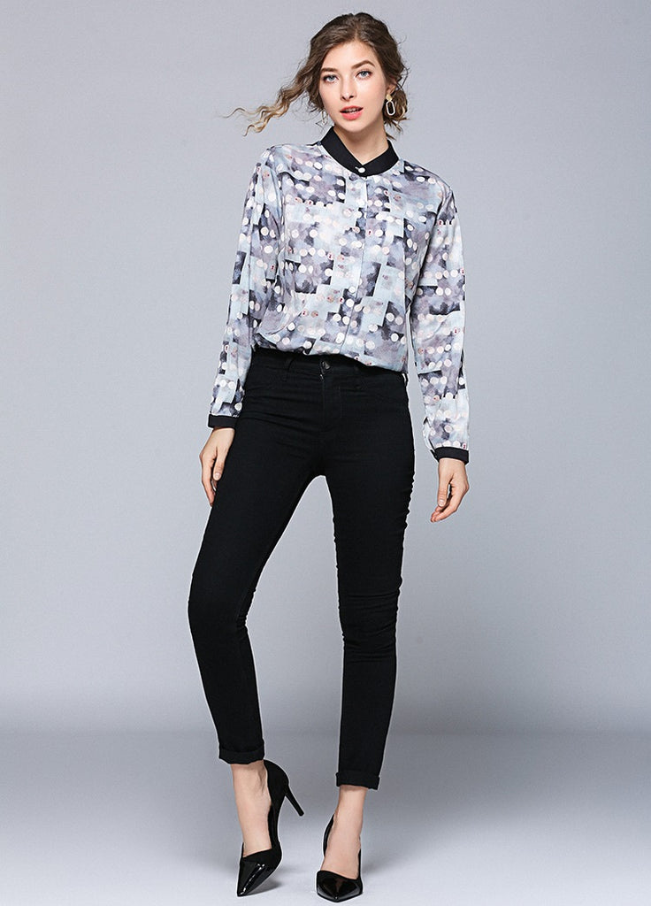 European style lady fit shirt--pattern printed--grey white--YNSHCH-190703