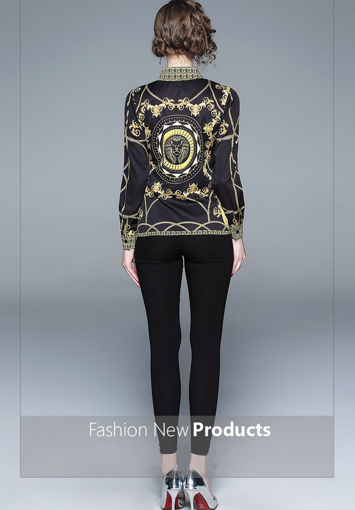 European style lady shirt--fit--pattern printed--black yellow--YNSHCH-363101