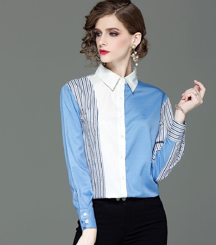 European style lady shirt--fit--pattern printed--blue white--HCX- 8119