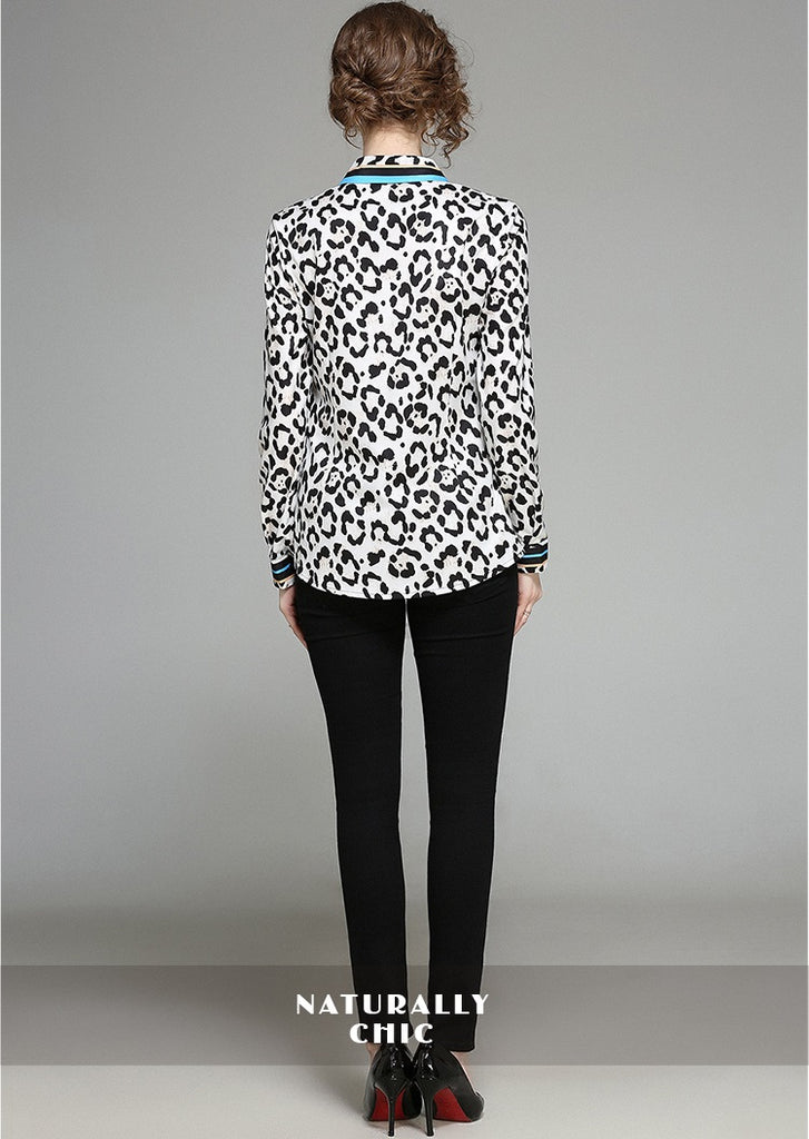 European style lady shirt--fit--leopard printed--black white--HCX-1079