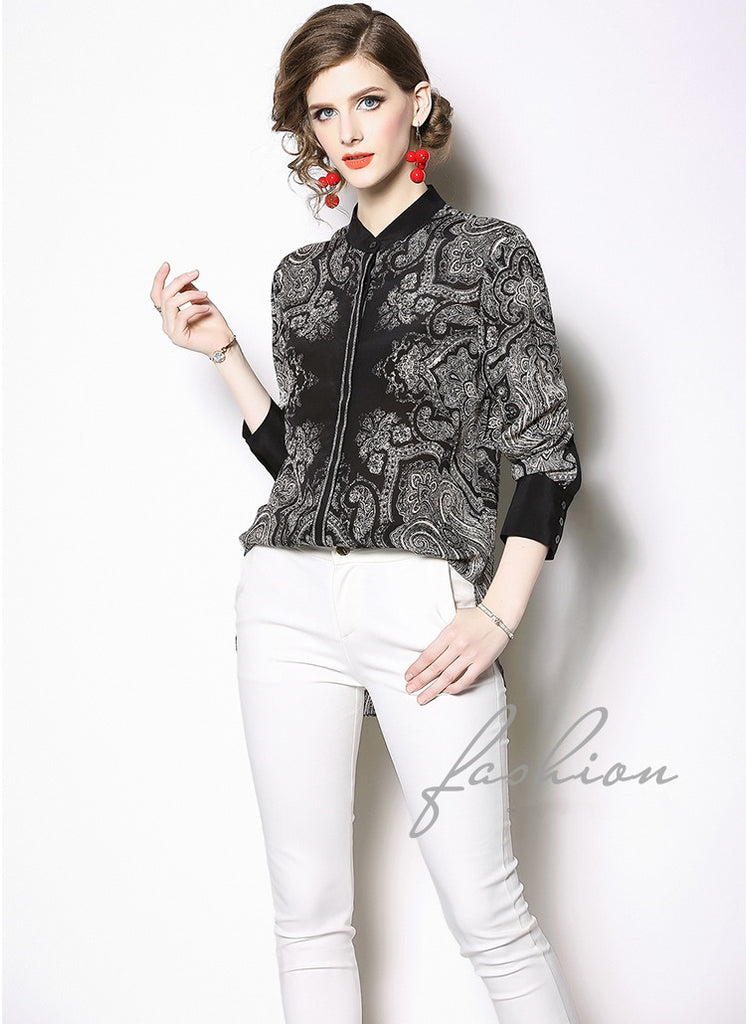 European style lady shirt--fit--flower printed--black--YNSHCH-715018