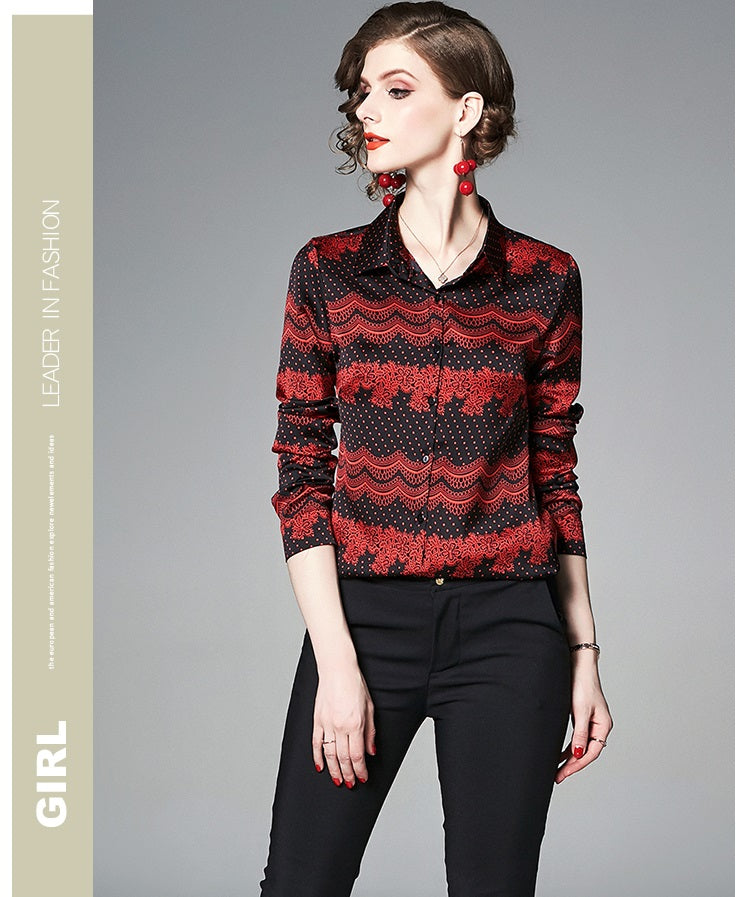 European style lady shirt--fit--pattern printed--red black--HCX-1007