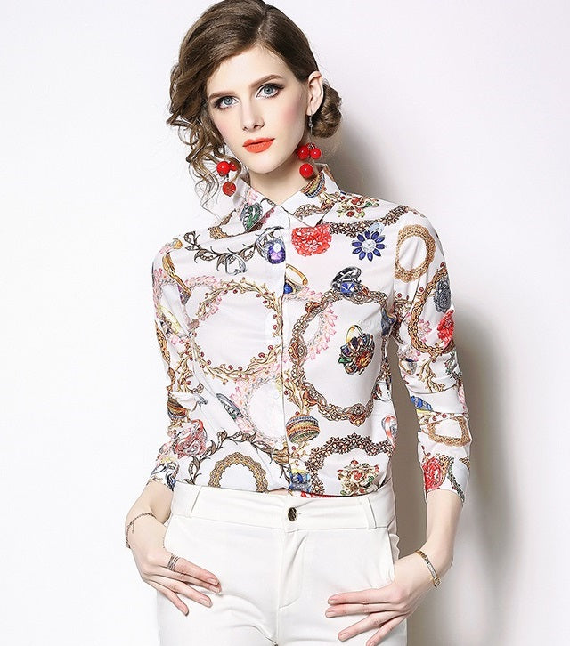 European style lady shirt--fit--pattern printed--blue white--HCX-1635 605