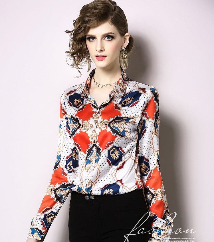 European style lady shirt--fit--flower printed--white red--YNSHCH-665407