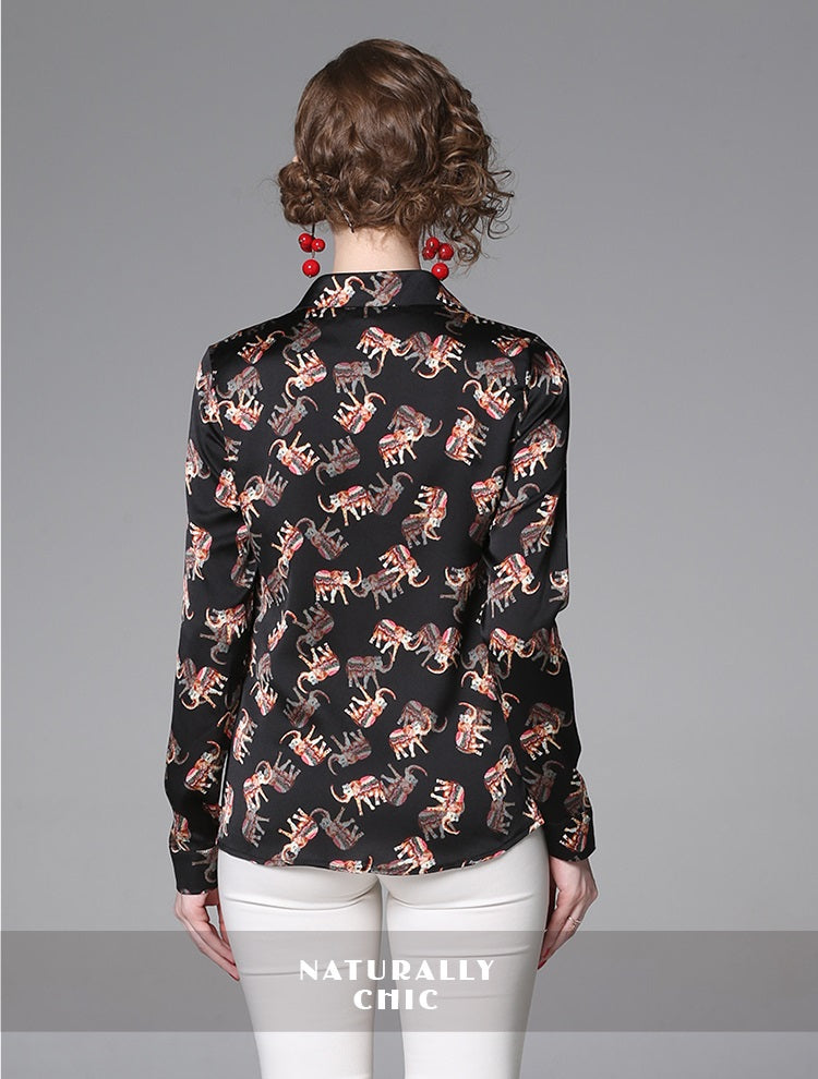 European style lady shirt--fit--flower printed--black red--YNSHCH-100207