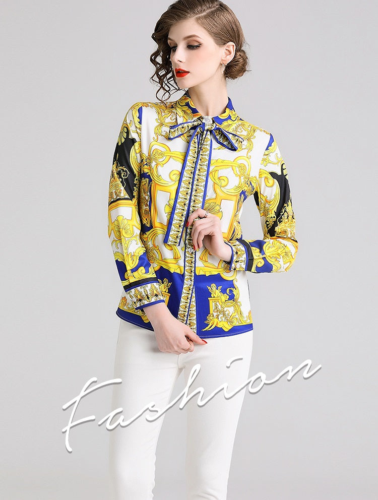 European style lady shirt--fit--pattern printed--yellow white--YNSHCH-622512