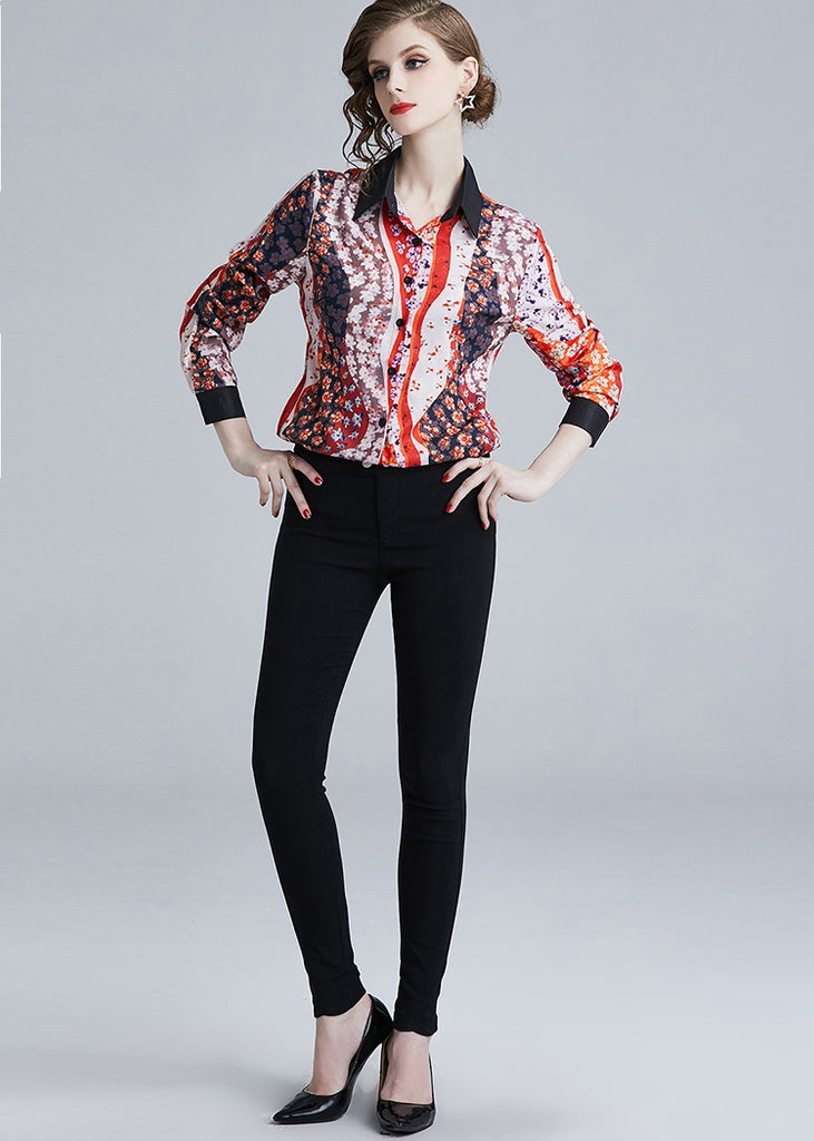 European style lady shirt--fit--pattern printed--red--YNSHCH-315211